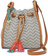 Fossil Claire Chevron-Striped Woven Tasseled Drawstring Mini Cross-Body Bag
