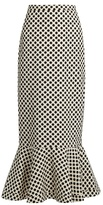 Saloni Portia polka-dot print double-crepe skirt