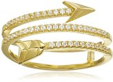 """Jardin Look-of-Real Jewelry"""" 1cttw Pave Cubic Zirconia Arrow Wraps Around Ring, Size 6"""