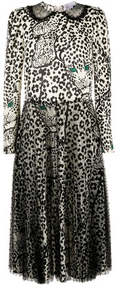 RED Valentino Leopard Print Tulle Panel Dress