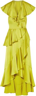 Temperley London Juliette Cutout Ruffled Silk-blend Satin-crepe Midi Dress