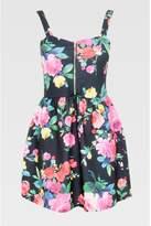 Select Fashion Fashion Womens Black Zip Front Floral Prom Dress - size 10