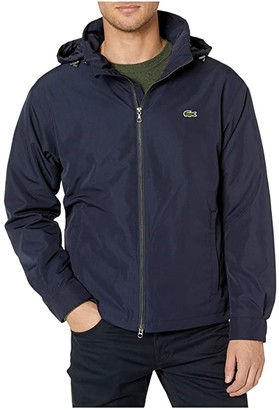Lacoste Long Sleeve Solid Short Windbreaker Water Repellent 2 Hip Zipped Pockets (Dark Navy Blue) Men's Clothing