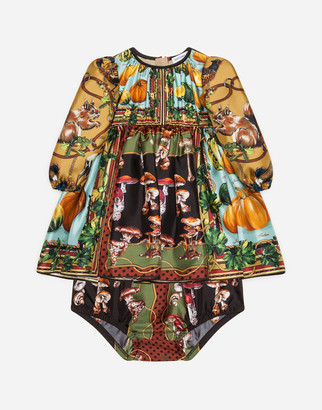 Dolce & Gabbana Dress In Twill With Autumn Print