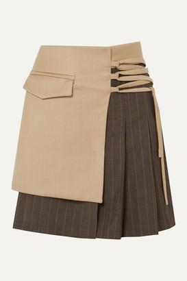 AAIZÉL Net Sustain Layered Wool-blend And Pleated Pinstriped Wool Mini Skirt - Beige