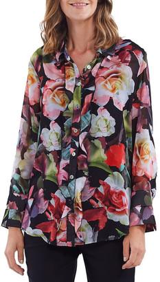 Hammock & Vine Floral Print Ruffle Placket Shirt