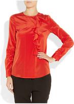 DKNY Ruffled stretch-silk blouse