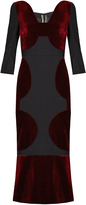 Roland Mouret Balden velvet-panelled midi dress