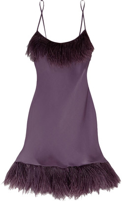 Carine Gilson Feather-trimmed Silk Chemise