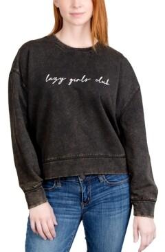 Rebellious One Juniors' Lazy Girls Weathered Graphic Sweatshirt