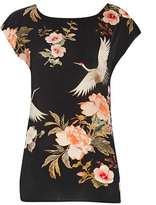 Wallis Black Floral and Bird Print Shell Top