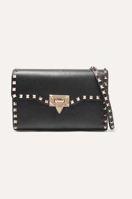 Valentino Garavani The Rockstud Small Textured-leather Shoulder Bag - Black