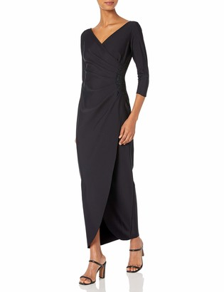 Alex Evenings Women's Slimming Long Sleeve Side-Ruched Dress