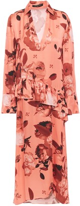 Mother of Pearl Ruffled Floral-print Satin Midi Dress