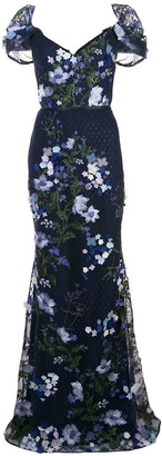 Marchesa floral net tulle dress