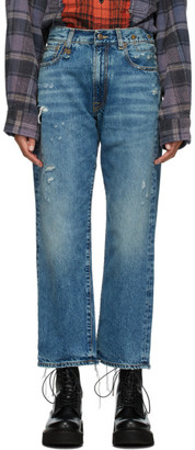 R 13 Blue Distressed Boyfriend Jeans
