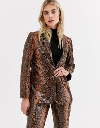Topshop leather blazer in snake print