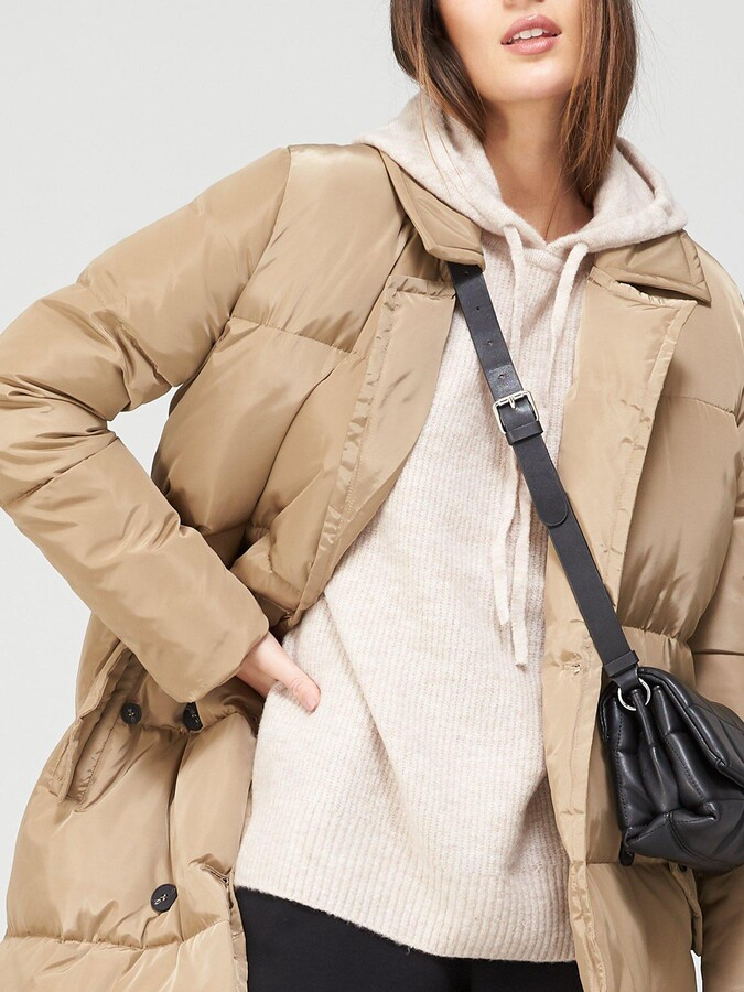 Thumbnail for your product : Very Premium Double Breasted Padded Coat - Stone