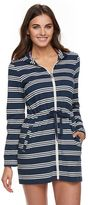 Apt. 9 Women's Hooded Striped Zip-Front Cover-Up