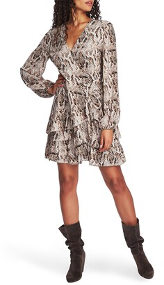 1 STATE 1.STATE Sultry Snake Ruffled Long Sleeve Wrap Front Dress