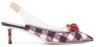 Gucci Eleonor Crystal-strawberry Tweed Slingback Pumps - Navy