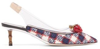 Gucci Eleonor Crystal-strawberry Tweed Slingback Pumps - Womens - Navy