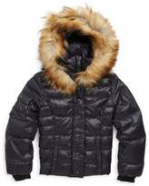 S13/Nyc Girl's Faux-Fur Trim Hooded Quilted Coat