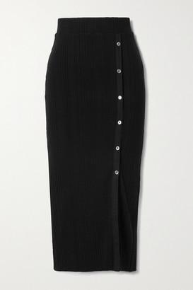 The Range Wave Button-embellished Ribbed-knit Midi Skirt - Black