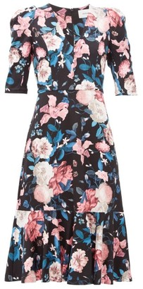 Erdem Ottavia Bouquet-print Dress - Black Pink
