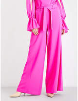 Osman Ladies Fushia Paloma High-Rise Wool-Crepe Trousers