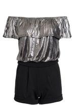 Quiz Silver Foil Bardot Frill Playsuit