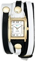 La Mer Women's LMLWMIX002 White Black Mix Layer Bracelet Wrap Watch
