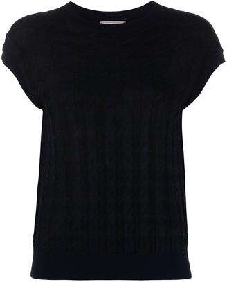 Nina Ricci Houndstooth Cap-Sleeve Top