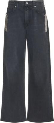 Christopher Kane Crystal Fringe Rigid Mid-Rise Wide-Leg Jeans