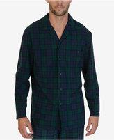 Nautica Men's Emerald Plaid Lightweight Sueded Fleece Sleep Shirt