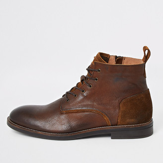 River Island Brown leather lace-up chukka boots