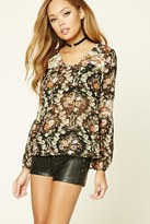 Forever 21 FOREVER 21+ Floral Chiffon Peasant Blouse