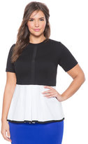 ELOQUII Plus Size Poplin Colorblock Peplum Top