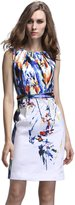 Yacun Women's Sleeveless Printed Bodycon Midi Pencil Business Slit Dress MLAK_XXL