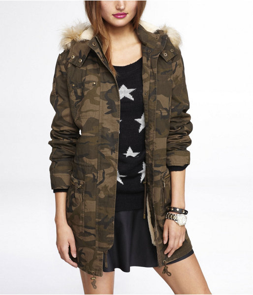 Express Camouflage Faux Fur Lined Parka