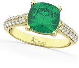 Allurez (4.42ct) 14k Yellow Gold Cushion Cut Emerald and Diamond Engagement Ring