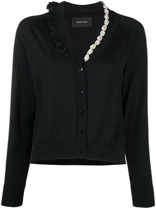 Simone Rocha Asymmetric Pearl Embellished Cardigan