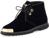 Giuseppe Zanotti Men's Gold Cap-Toe Velvet Chukka Boot, Navy