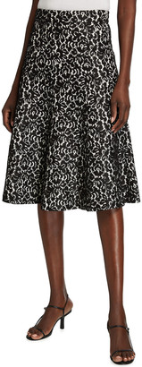 Michael Kors Collection Floral Bonded Lace Flare Skirt