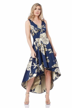 Roman Originals Women Metallic Jacquard Floral Print Dress - Ladies Rose Flower Midi Formal A-line Fit & Flare High Low Asymmetric Dip Hem Ball Gown - Navy & Gold - Size 16