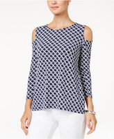 Charter Club Printed Cold-Shoulder Top, Only at Macy's