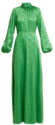 Mary Katrantzou Belle Mare Butterfly-jacquard Satin Gown - Womens - Green