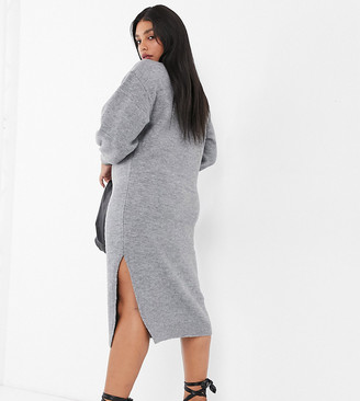 ASOS DESIGN Curve crew neck midi dress with volume sleeve
