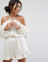 J.o.a. Off Shoulder Playsuit With Cami Straps And Frill Layer