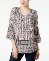 Style&Co. Style & Co. Printed Pleated Top, Only at Macy's